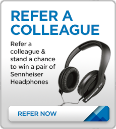 Refer a Colleague and stand a chance to win a pair of Sennheiser Headphones.